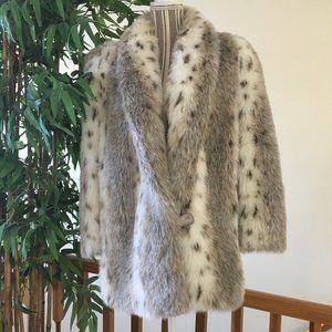 Jordache Vintage Lynx Faux Fur Coat Size 15/16